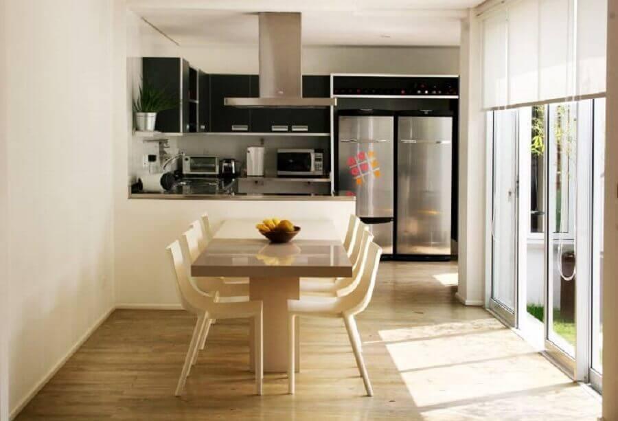 decoração simples para cozinha americana integrada com sala de jantar Foto Pinterest