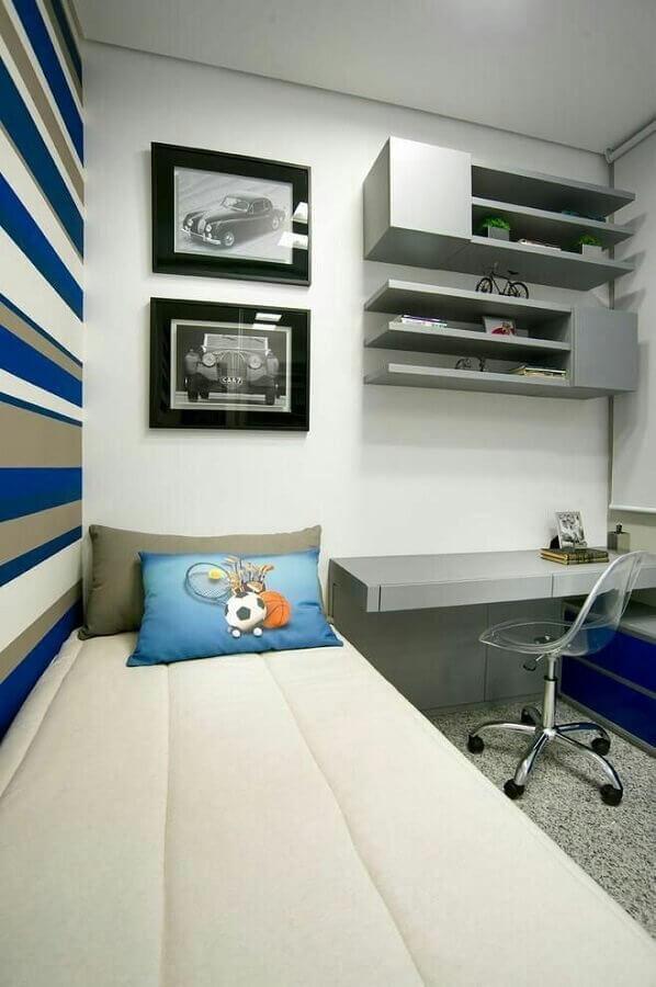 decoração simples para quarto de homem solteiro pequeno Foto Pinterest