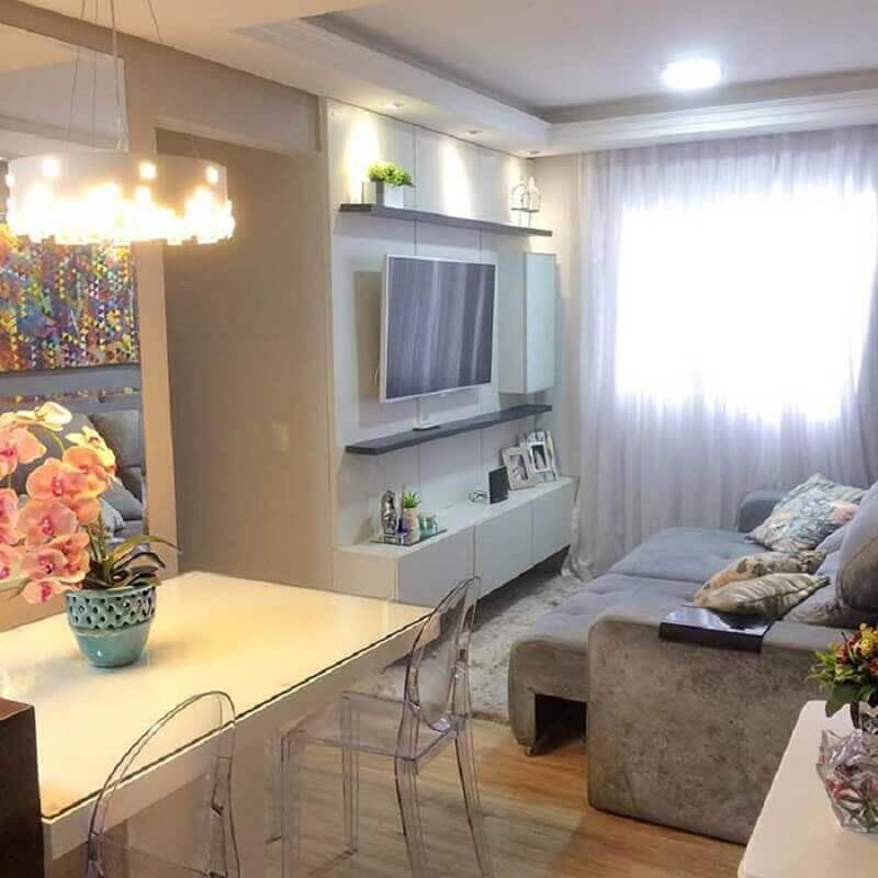 decoração simples para sala de apartamento pequeno Foto Pinterest