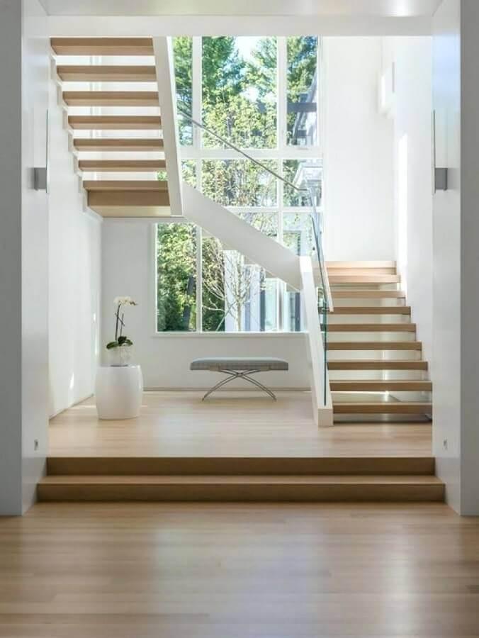 degraus e madeira para escadas internas em U Foto Pinterest