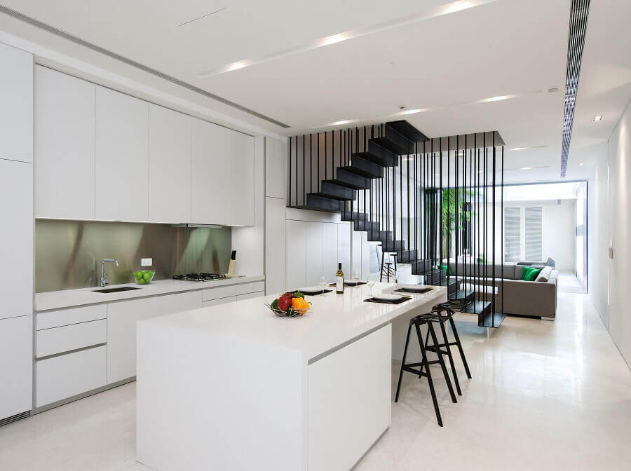 escadas internas simples de ferro para decoração de casa conceito aberto minimalista Foto Home Fashion Trend