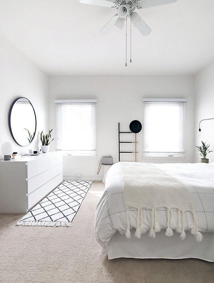 ideias de decoração para quarto de casal todo branco Foto Pinterest