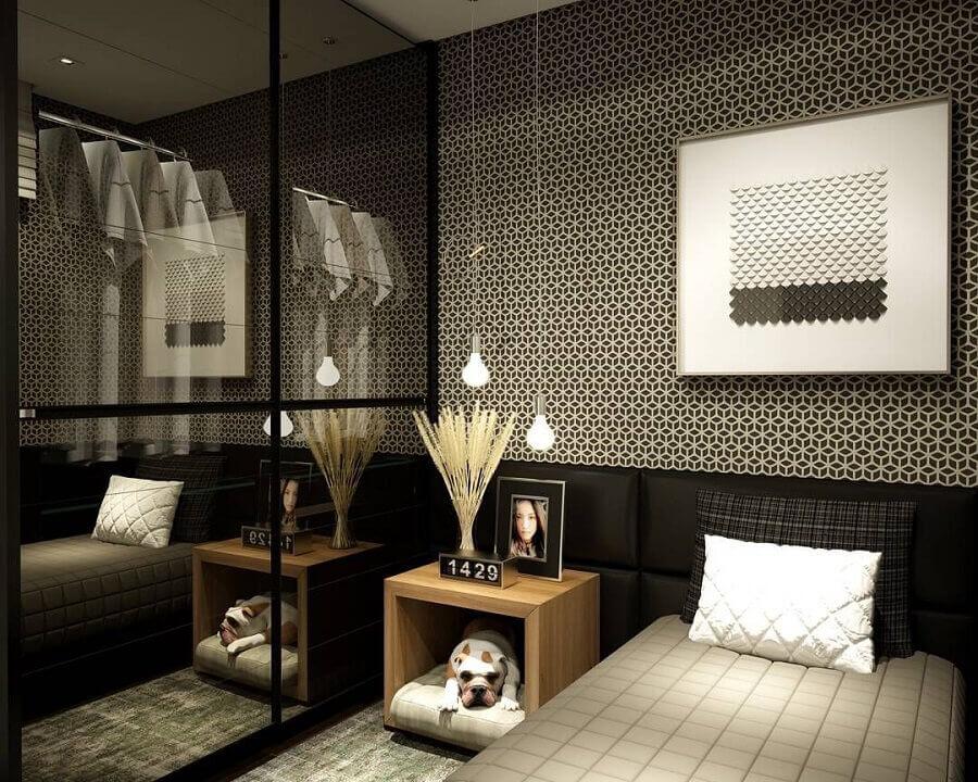ideias de decoração para quarto preto moderno com cabeceira estofada Foto Pinterest