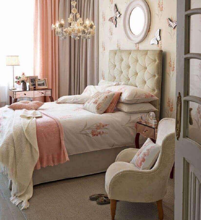 ideias para quarto de menina romântico decorado com cabeceira capitonê Foto Home Fashion Trend