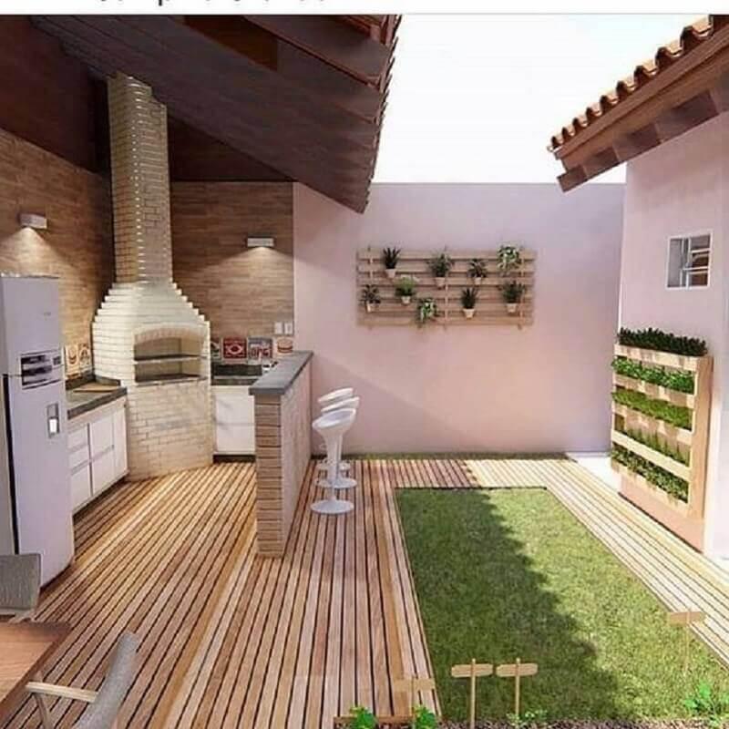 jardim para decoração de área gourmet externa Foto Tudo Construção
