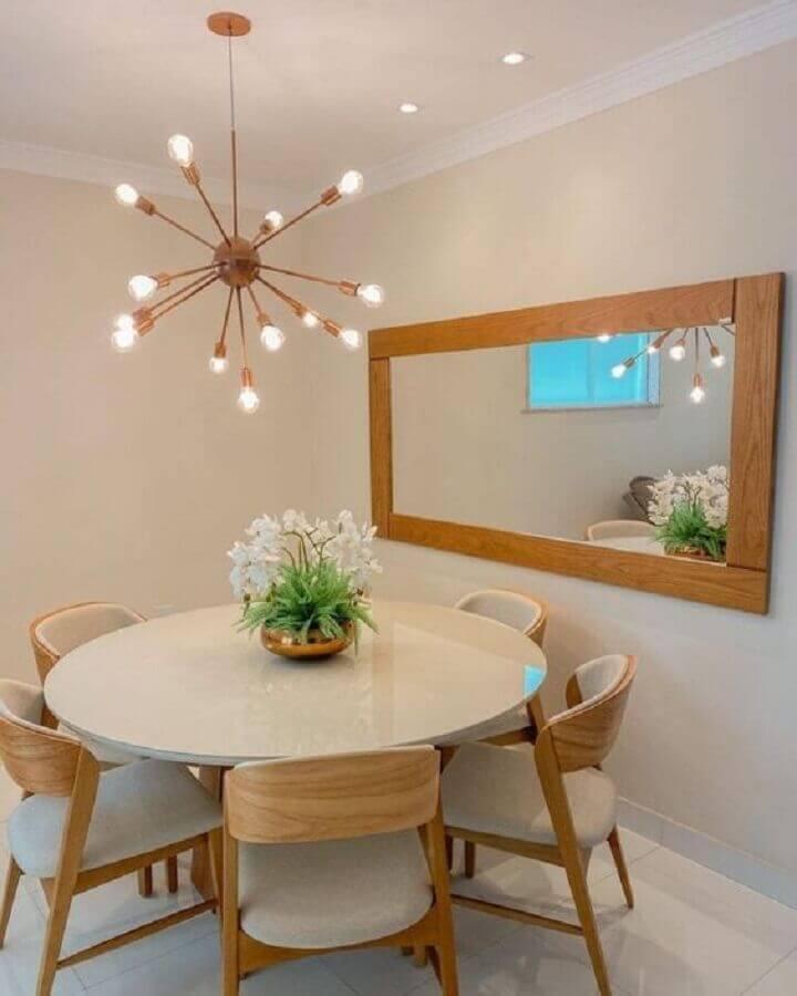 luminária pendente moderna para decoração de sala de jantar com mesa redonda Foto Pinterest
