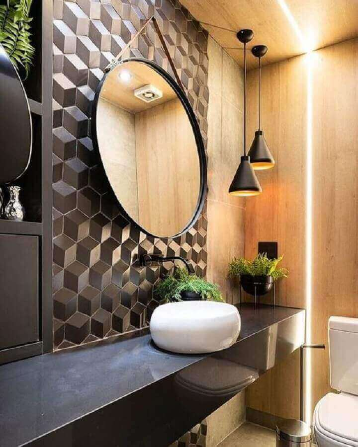 luminária pendente para banheiro amadeirado moderno decorado com revestimento 3D Foto Decortiles