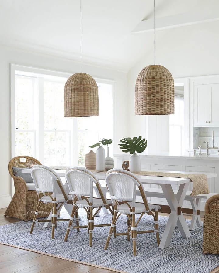 luminária pendente rústica para sala de jantar branca decorada com estilo escandinavo Foto Chez Marina