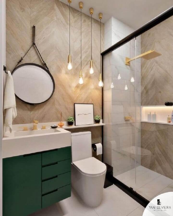 luminária pendente simples para decoração de banheiro planejado com gabinete verde Foto Pinterest