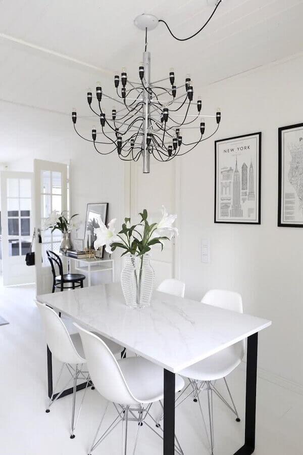 lustre de teto moderno para decoração de sala de jantar toda branca Foto Pinterest