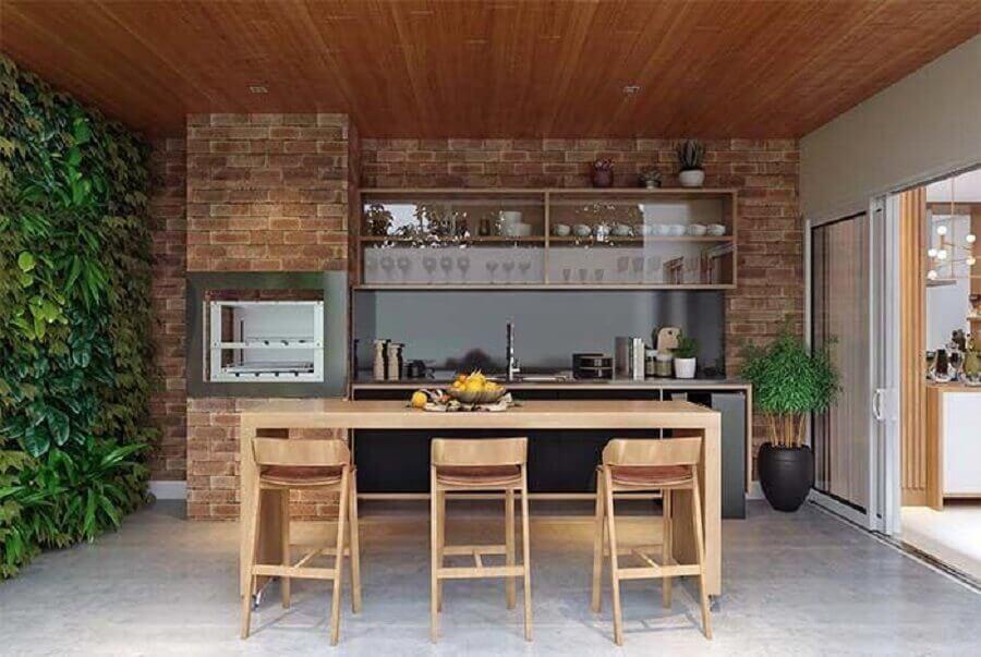móveis planejados para decoração de área gourmet com churrasqueira Foto Jeito de Casa