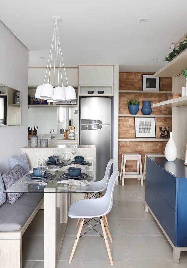 mesa de vidro para decoração de cozinha americana pequena com sala de jantar Foto Pinterest