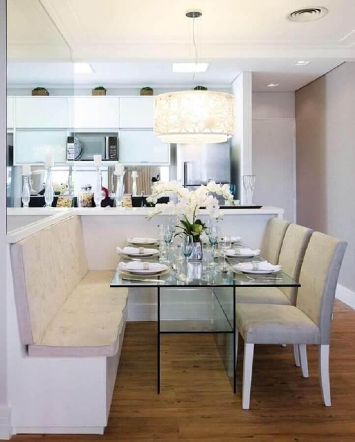 mesa de vidro para sala de jantar com cozinha americana integrada Foto Pinterest