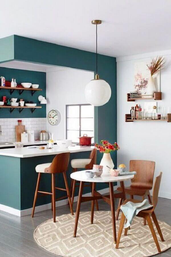 mesa redonda pequena para decoração de cozinha americana integrada com sala de jantar Foto Pinterest