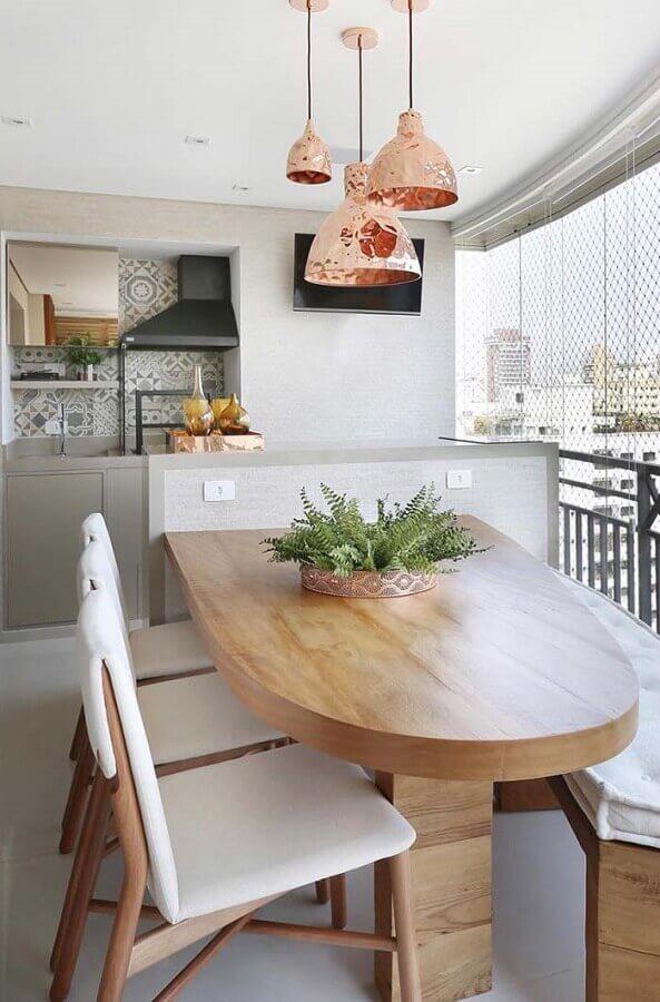modelo de área gourmet moderna decorada com luminária rose gold Foto Pinterest
