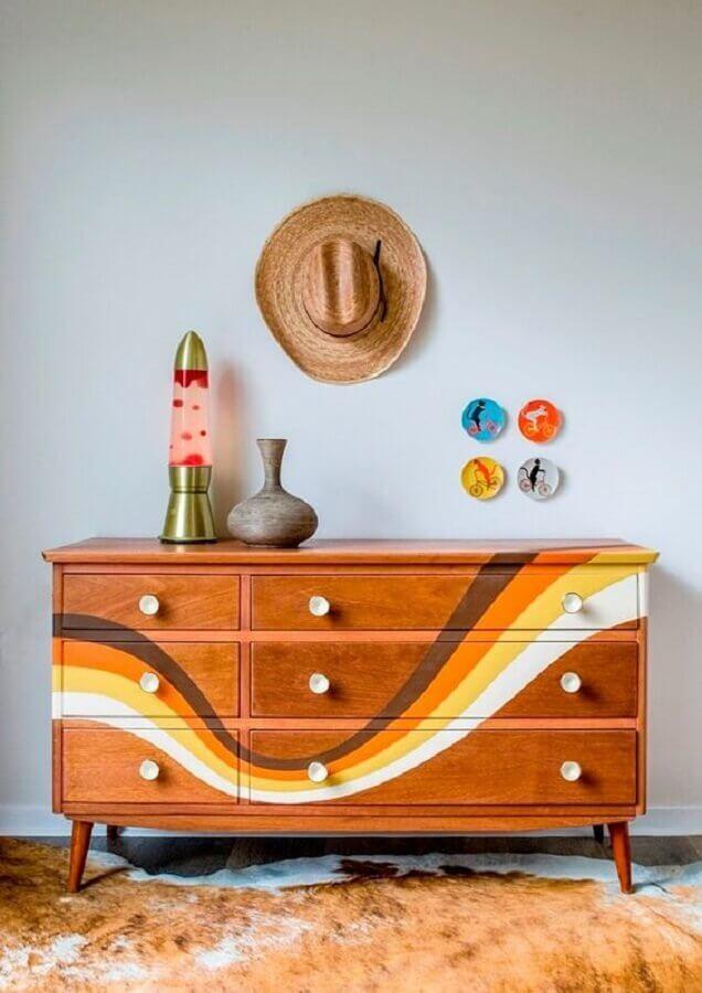 modelo diferente de cômoda de madeira para quarto Foto Pinterest