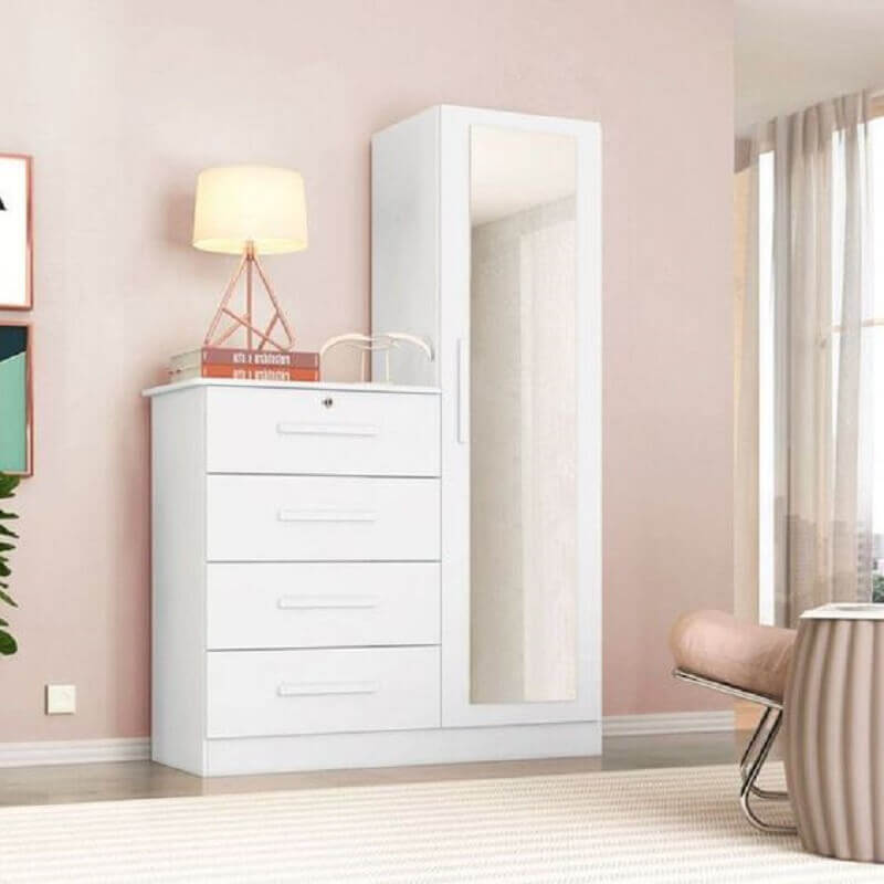 Modelo simples de cômoda para quarto com espelho e sapateira - Foto: Pinterest