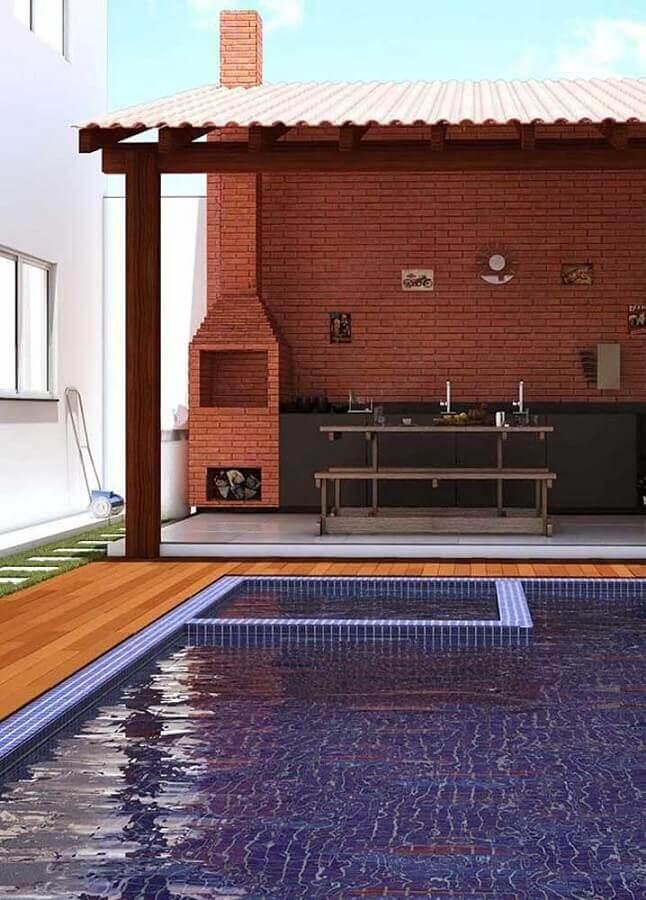 modelos de área gourmet com piscina e churrasqueira de tijolinho Foto Casa de Valentina