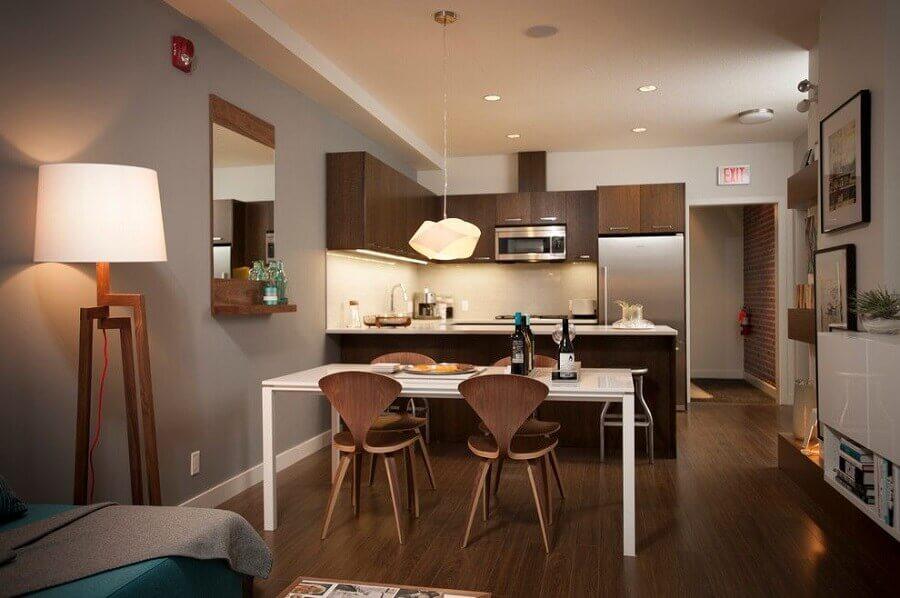 móveis de madeira para decoração de cozinha americana com sala de jantar e estar