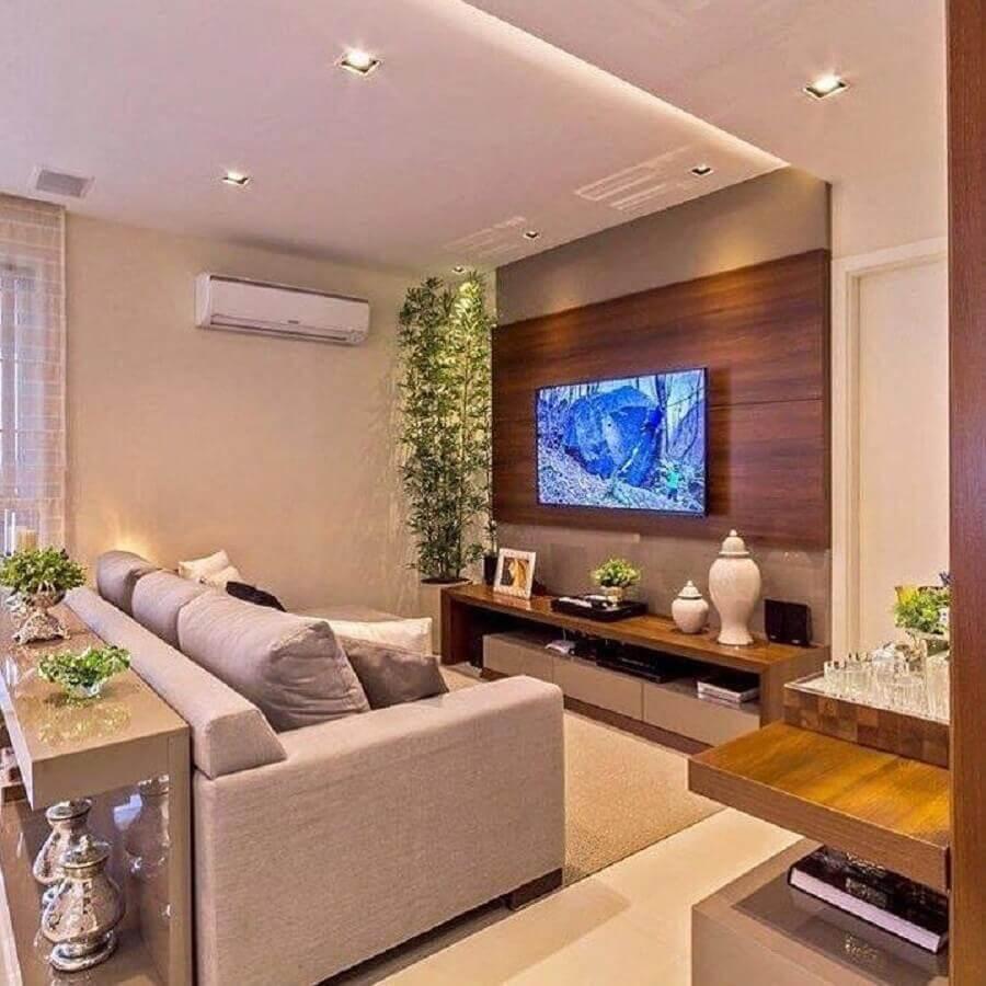 painel de madeira para decoração de sala de estar apartamento Foto Home Fashion Trend