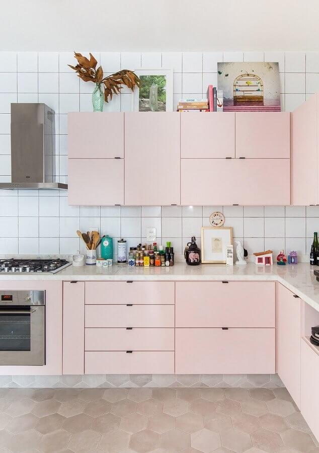 paleta de cores tons pastéis para decoração de cozinha simples cor de rosa Foto Histórias de Casa