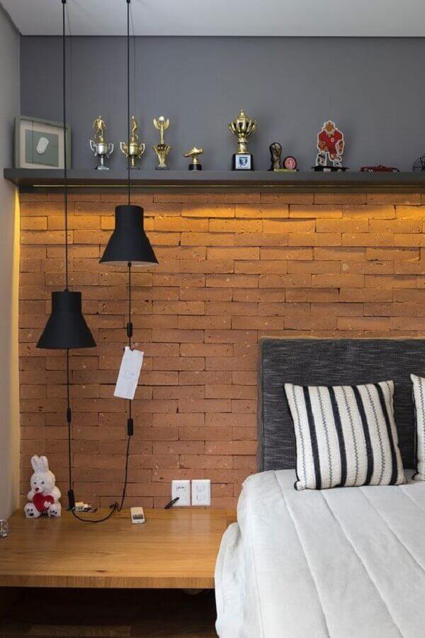 parede tijolinho para decoração de quarto de homem Foto Casa de Valentina