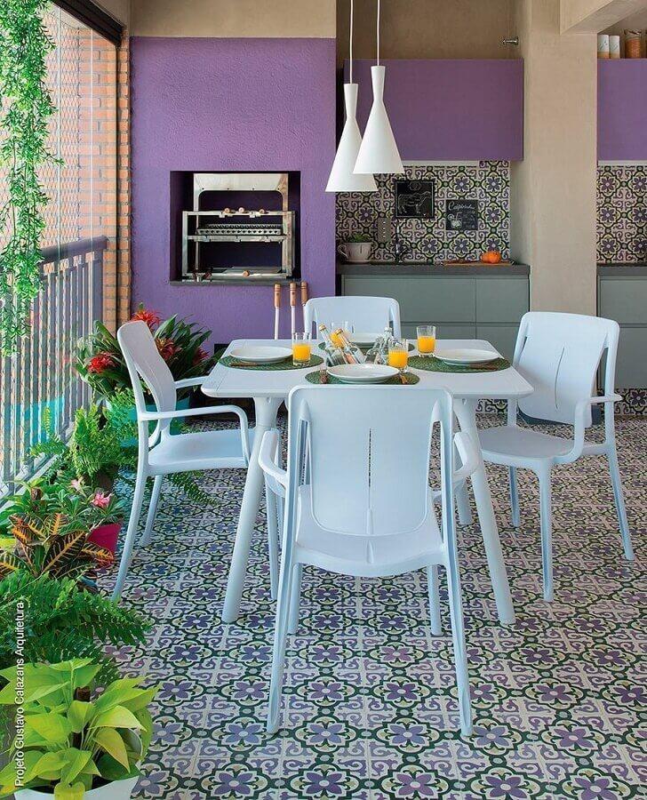 piso antigo para decoração de modelos de área gourmet com churrasqueira Foto Muito Chique