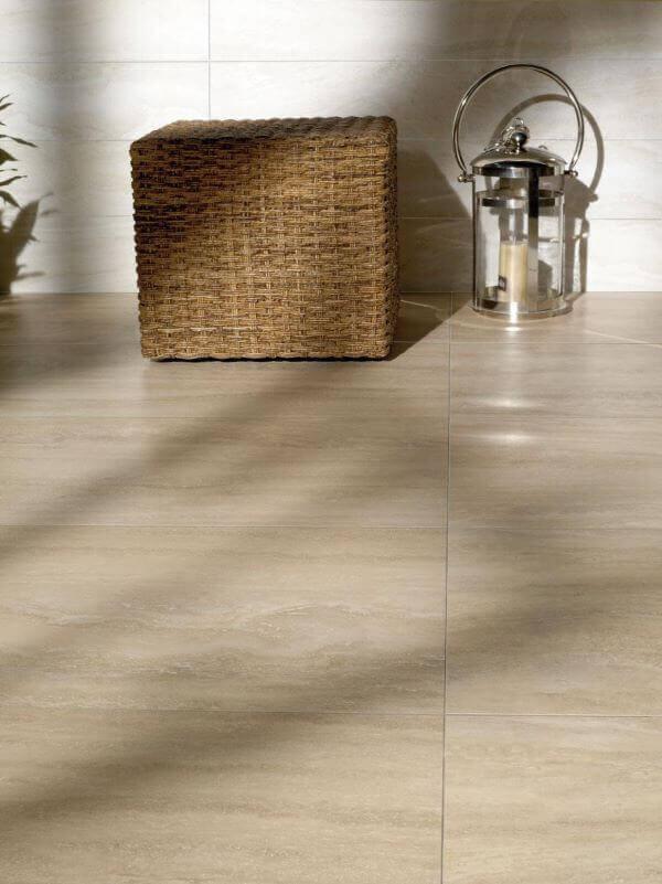 Piso de porcelanato bege para sala moderna