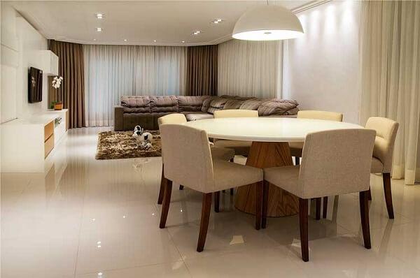 Piso de porcelanato retificado para sala de estar integrada