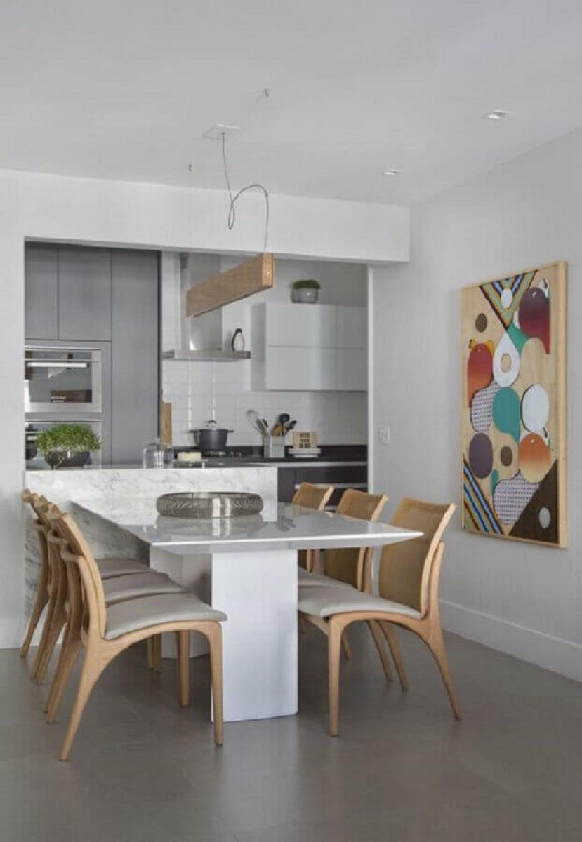 quadro colorido para decoração de cozinha americana com sala de jantar Foto Histórias de Casa