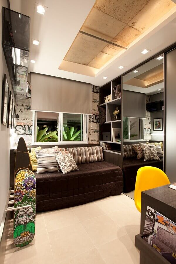 quarto de homem decorado com móveis planejados Foto Pinterest