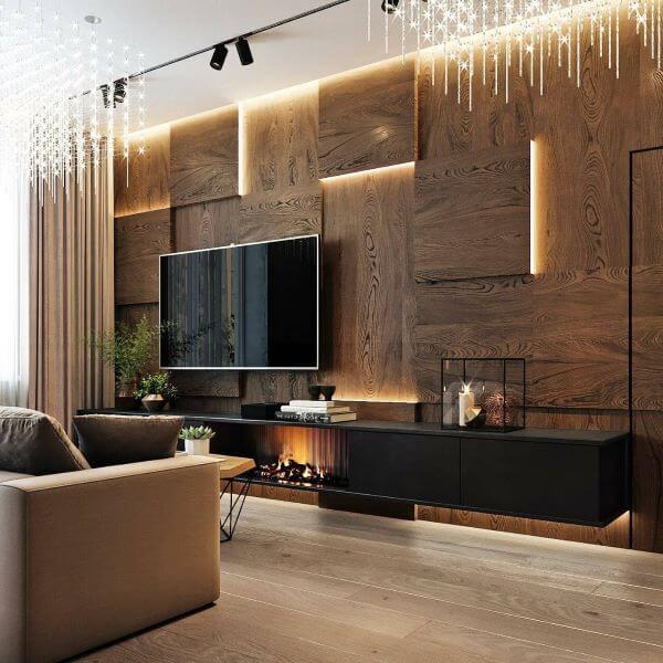 Rack rustico preta com painel de madeira 3D