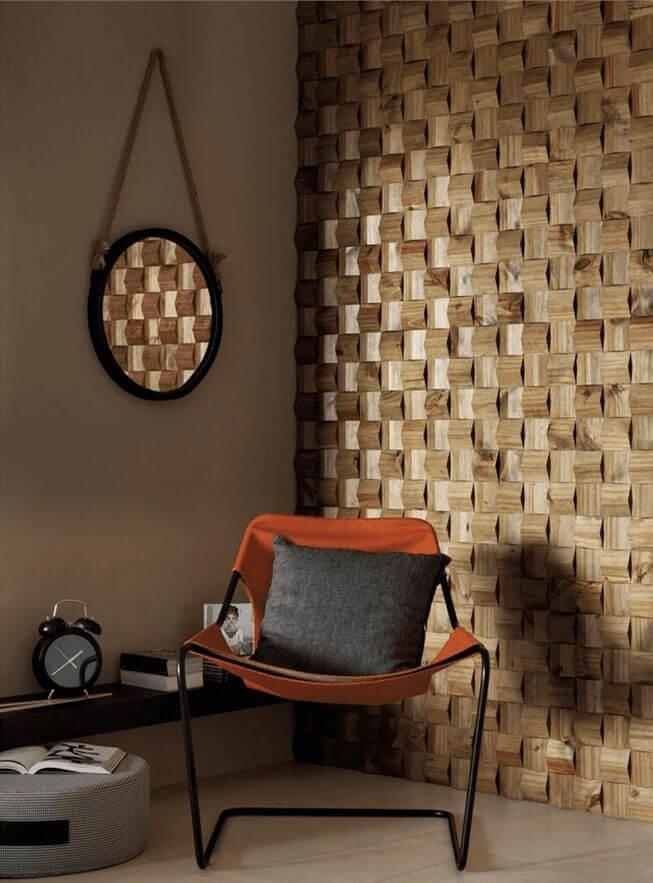 Sala com parede de revestimento porcelanato 3D amadeirado