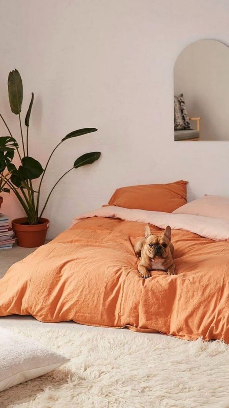 Roupa de cama cor pessego