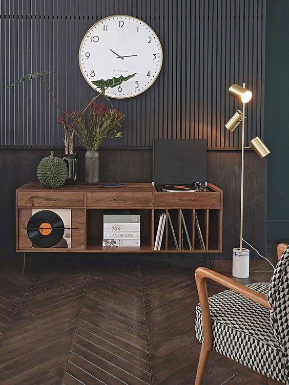 Rack rustico pequeno para sala de estar moderna