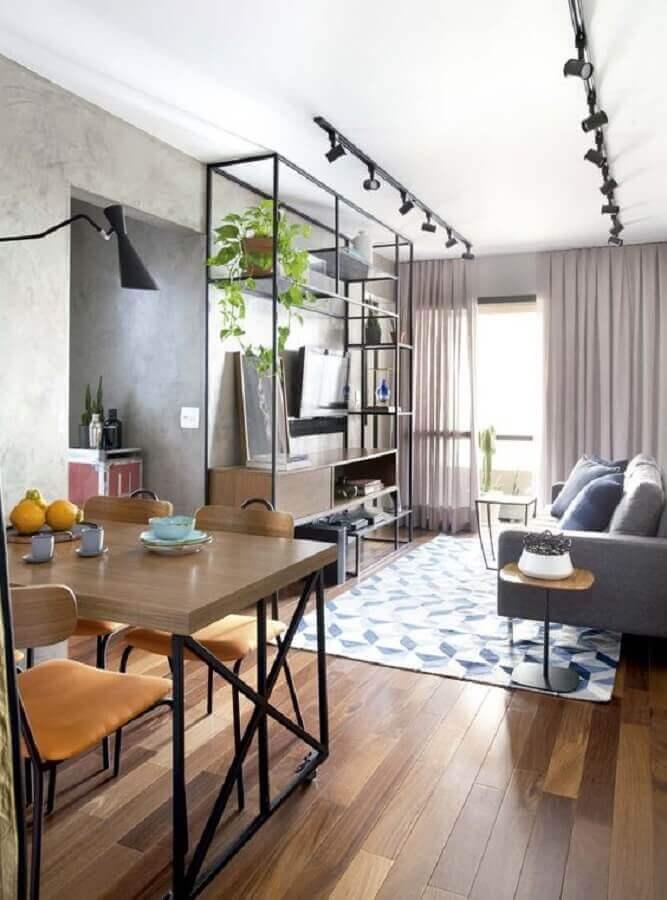 sala de apartamento decorado com estilo industrial Foto Iluminim LED