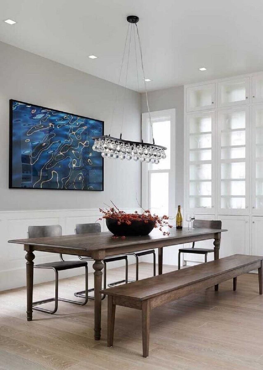 sala de jantar decorada com lustre de teto Foto Casa de Valentina