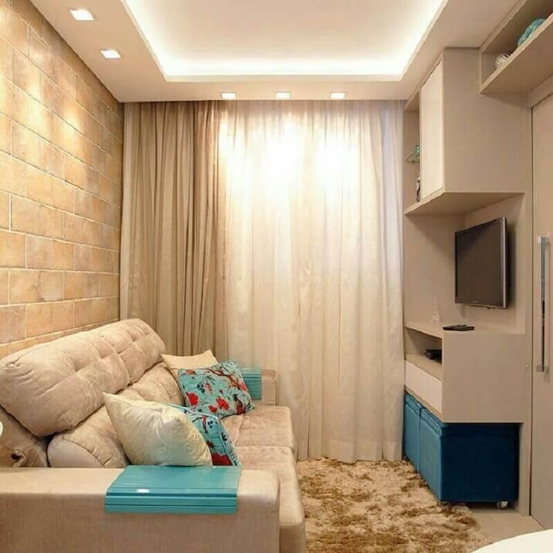 tapete felpudo para sala de apartamento pequeno decorado na cor bege e azul tiffany Foto Pinterest
