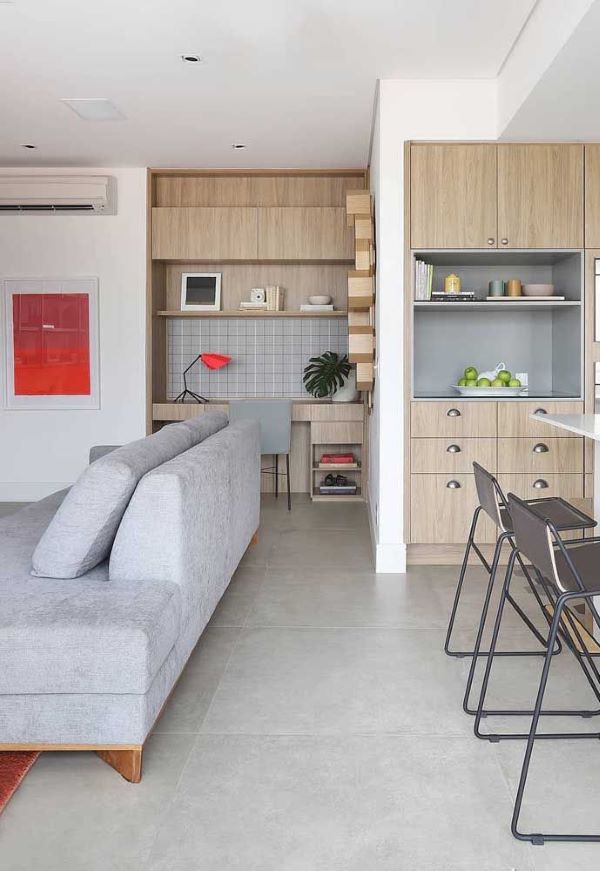 Piso de porcelanato cimento queimado para sala de estar