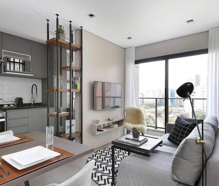 tons de cinza para decoração de sala de apartamento moderno Foto Homify
