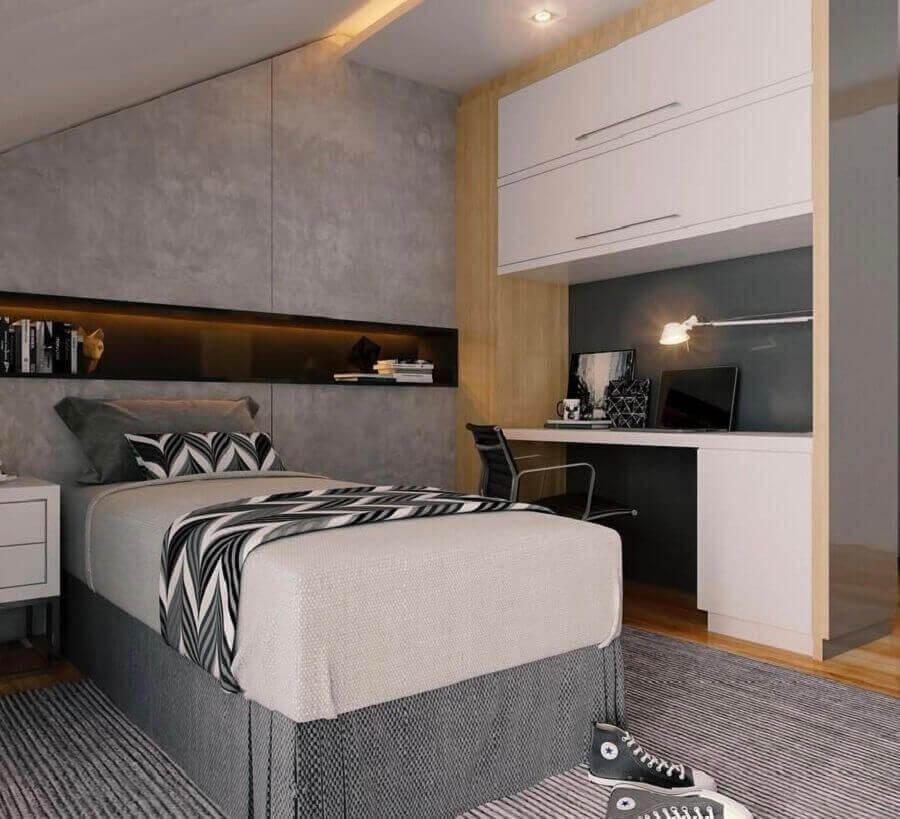 tons de cinza para quarto de homem decorado com móveis planejados Foto Home Fashion Trend