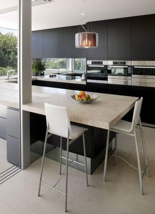 varanda gourmet moderna decorada com banqueta alta branca Foto Daily Life