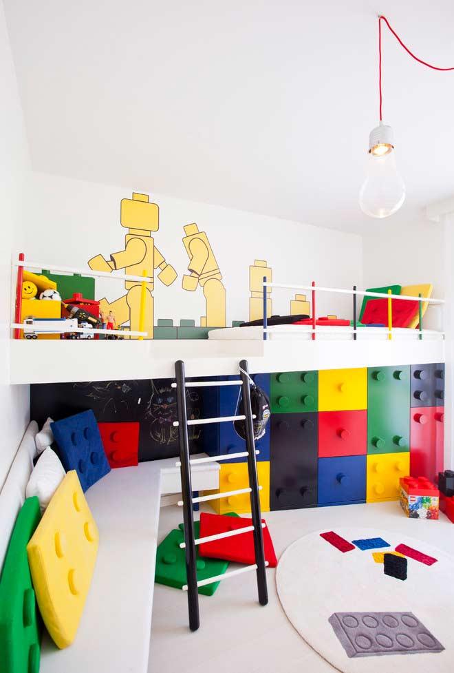 Almofadas divertidas para quarto infantil em formato de lego