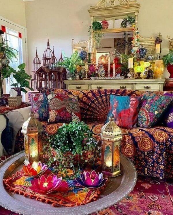 As cores que fazem parte da decoração indiana são sempre quentes e alegres. Fonte: Pinterest