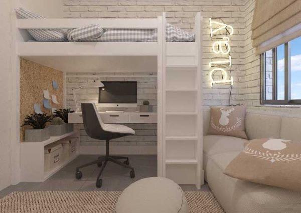 Beliche de madeira com escrivaninha