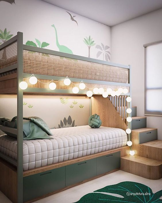 Beliche planejada verde com iluminação charmosa