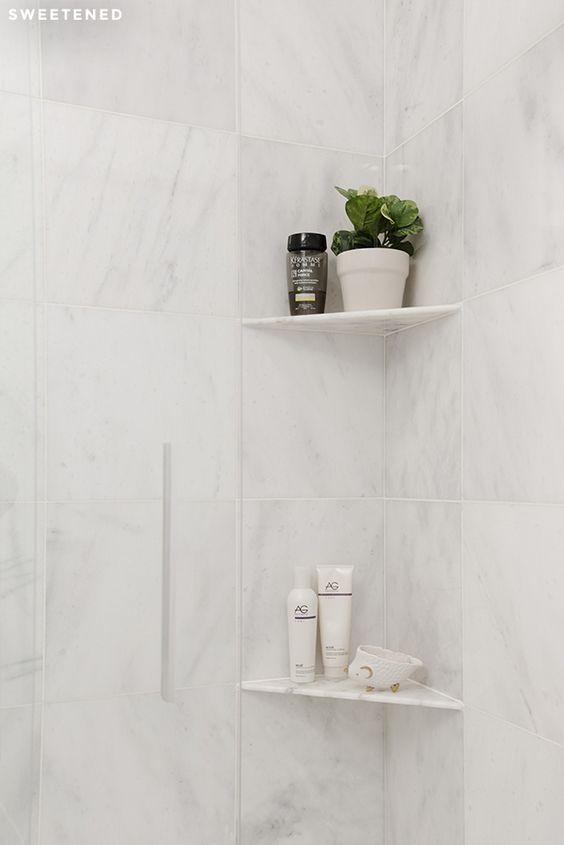 Cantoneira para banheiro de granito branco