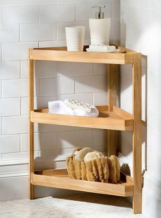 Cantoneira para banheiro de madeira