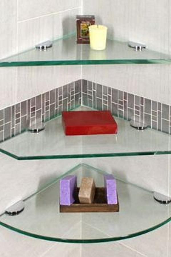 Cantoneira para banheiro de vidro dentro do box
