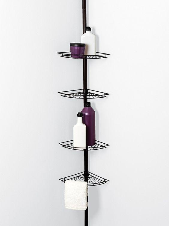 Cantoneira para banheiro preto pratico para itens de beleza
